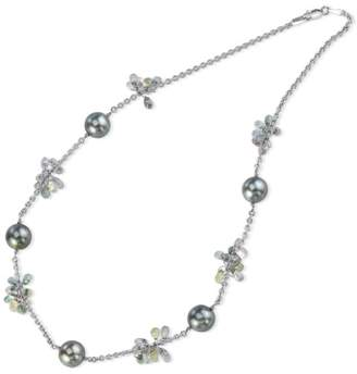 18k White Gold Tahitian Pearl & Sapphire Necklace