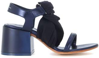 MM6 MAISON MARGIELA Blue Leather And Black Fabric Sandal