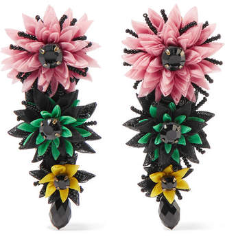Etro Silk-tulle, Bead And Crystal Clip Earrings - Pink