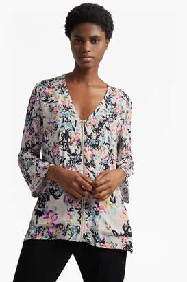 French Connenction Delphine Crepe Mix V Neck Top