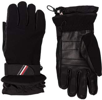 Moncler black panelled logo ski gloves