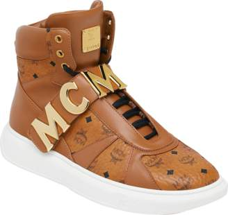 MCM Men's High Top Letter Sneakers In Visetos