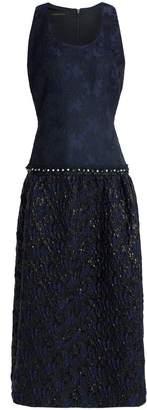 Mother of Pearl ビーズ付きパネル加工 ジャカード&ふくれ織り マキシワンピース