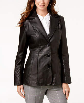 Jones New York Petite Leather Blazer Coat