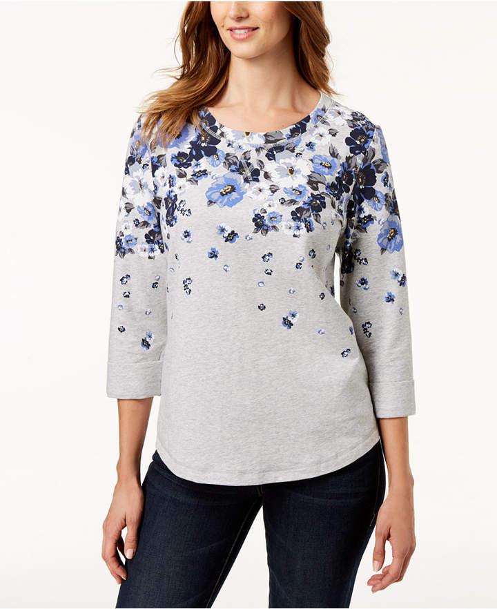 Karen Scott Petite French Terry Sweatshirt, Created for Macy's