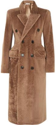 Balenciaga Double-breasted Shearling Coat - Brown