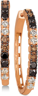 LeVian Le Vian Chocolate Layer CakeTM Blackberry Diamonds®, Chocolate Diamonds® & Nude DiamondsTM Hoop Earrings (1-5/8 ct. t.w.) in 14k Rose Gold