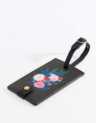 Cotton On Black Floral Luggage Tag