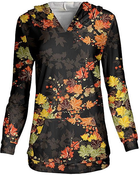 Black & Rust Autumn Foliage Hoodie - Women & Plus