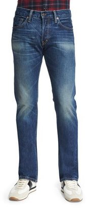 TOM FORD Straight-Fit Vintage-Wash Selvedge Denim Jeans, Blue $680 thestylecure.com