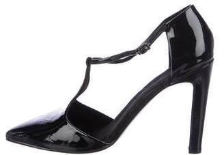 Les Prairies de Paris Patent Leather T-Strap Pumps