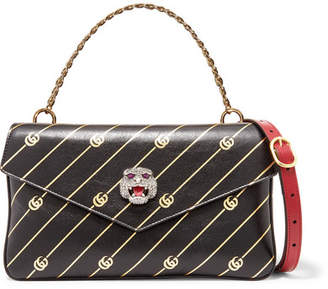 Gucci Thiara Embellished Printed Leather Shoulder Bag - Red