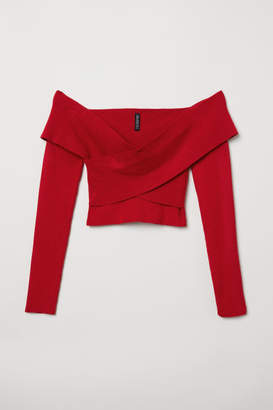 H&M Short Off-the-shoulder Top - Red