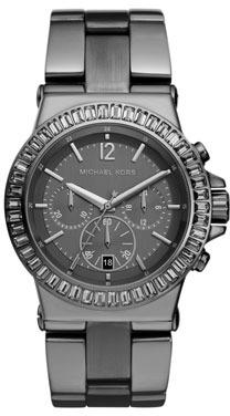 Michael Kors Mid-Size Gunmetal Stainless Steel Dylan Chronograph Glitz Watch