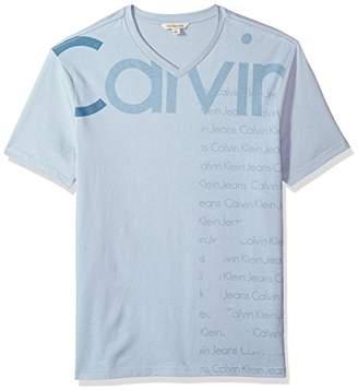 Calvin Klein Jeans Men's Short Sleeve T-Shirt V-Neck Logo Design