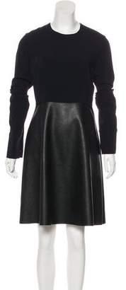 Stella McCartney Vegan Leather-Paneled A-Line Dress