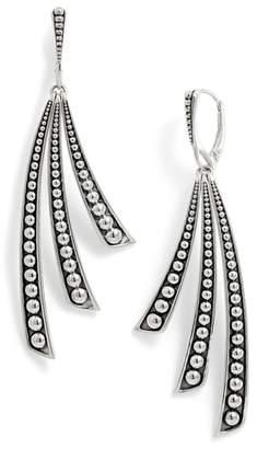 Lagos Signature Caviar Triple Linear Curve Drop Earrings