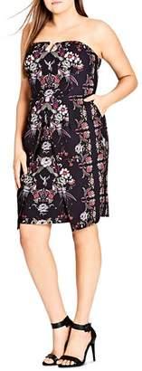 City Chic Plus Strapless Floral-Print Dress