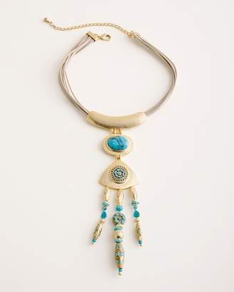 Chico's Chicos Turquoise-Hued Double-Drop Bib Necklace