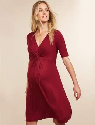 Motherhood Maternity Knot Front Elbow Sleeve Maternity Dress