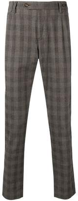 Pt01 check pattern slim-fit trousers