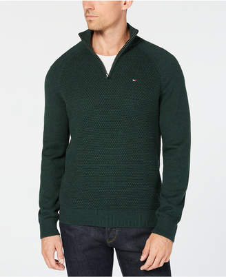 Tommy Hilfiger Men's Waffle Knit Quarter-Zip Sweater