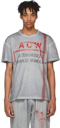 A-Cold-Wall* Grey and Red Authorised Carrige Worker T-Shirt