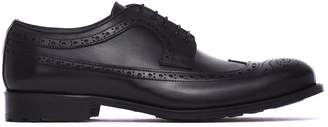 Pollini Lace-up Shoes With Dovetail Design In Black Leather