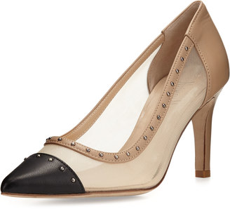 Neiman Marcus Besozzo Studded-Trim Mesh Leather Pump, Black/Nude $199 thestylecure.com