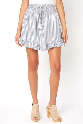 Olivaceous Striped Smocked Mini Skirt