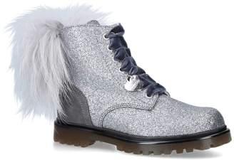 MonnaLisa Glitter Pom Pom Ankle Boots