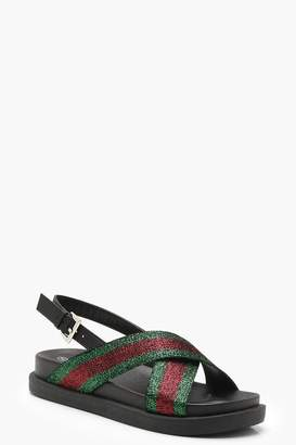 boohoo Sports Stripe Cross Strap Sandals