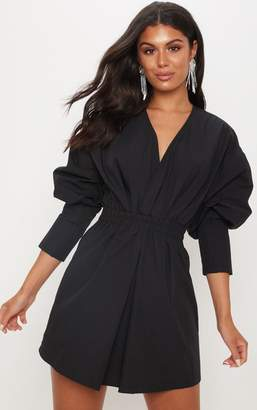 PrettyLittleThing Black Plunge Ruched Shirt Dress