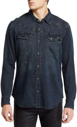 True Religion Men's Carter Cotton Western Button-Down Shirt