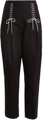 Tibi Easton tweed lace-up detail trousers