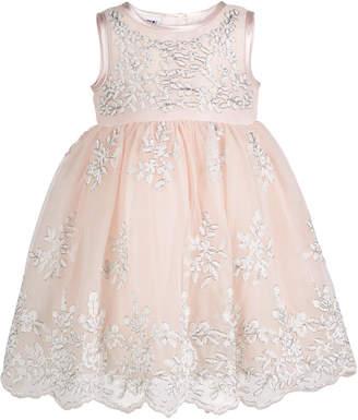 Blueberi Boulevard Baby Girls Floral-Embroidered Dress