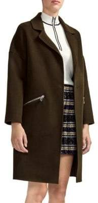 Maje Double Face Zip Pocket Wool-Blend Coat