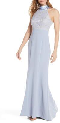 Eliza J Halter Neck Lace & Crepe Mermaid Gown