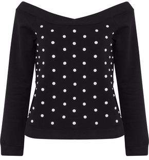 Faux Pearl-Embellished French Cotton-Terry Sweatshirt