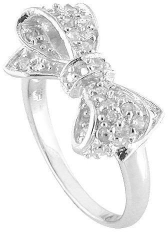 Target.com Use Only Cubic Zirconia Silver Plated Bow Ring