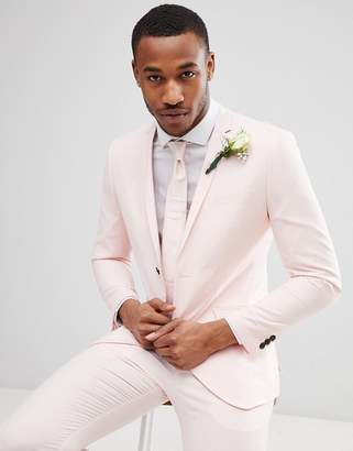 Jack and Jones Skinny Suit Jacket in Dusty Pink