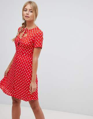 Gilli printed skater dress with key hole
