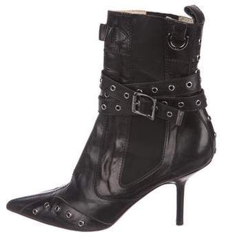 Christian Dior Leather Pointed-Toe Boots