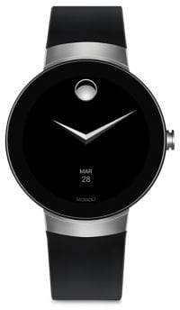 Movado Connect Bold Motion Silvertone& Black Silicone Strap Smart Watch - Black