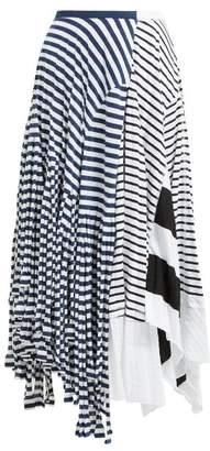 Loewe Contrasting Stripe Print Cotton Blend Skirt - Womens - Navy White