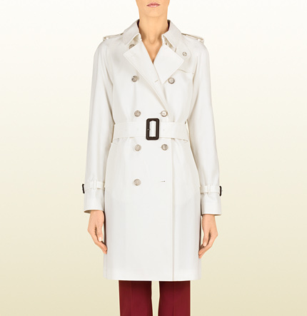 Gucci White Canvas Trench Coat