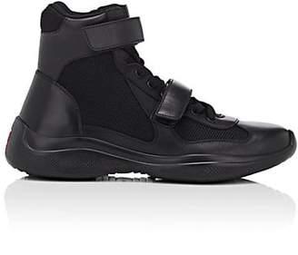 Prada Men's Double-Strap Leather & Mesh Sneakers - Black