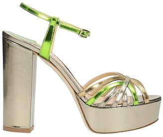 The Seller Plateau Metal Gold Green Leather Sandals