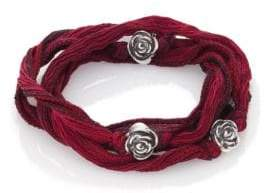 King Baby Studio Sterling Silver& Silk Rose Wrap Bracelet