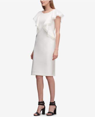 DKNY Ruffled Scuba Crepe Sheath Dress, Created for Macy's
